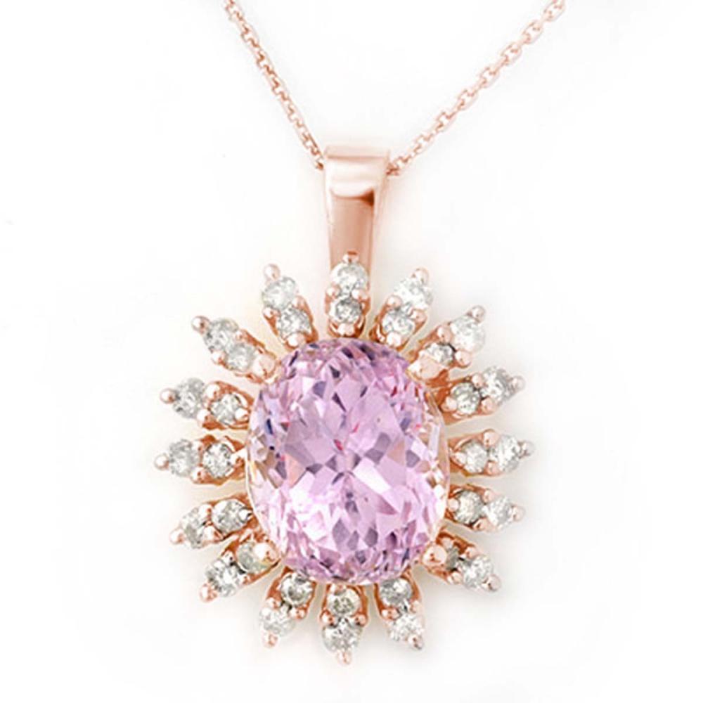 8.68 ctw Kunzite & Diamond Necklace 14K Rose Gold - REF-138W7H - SKU:10343