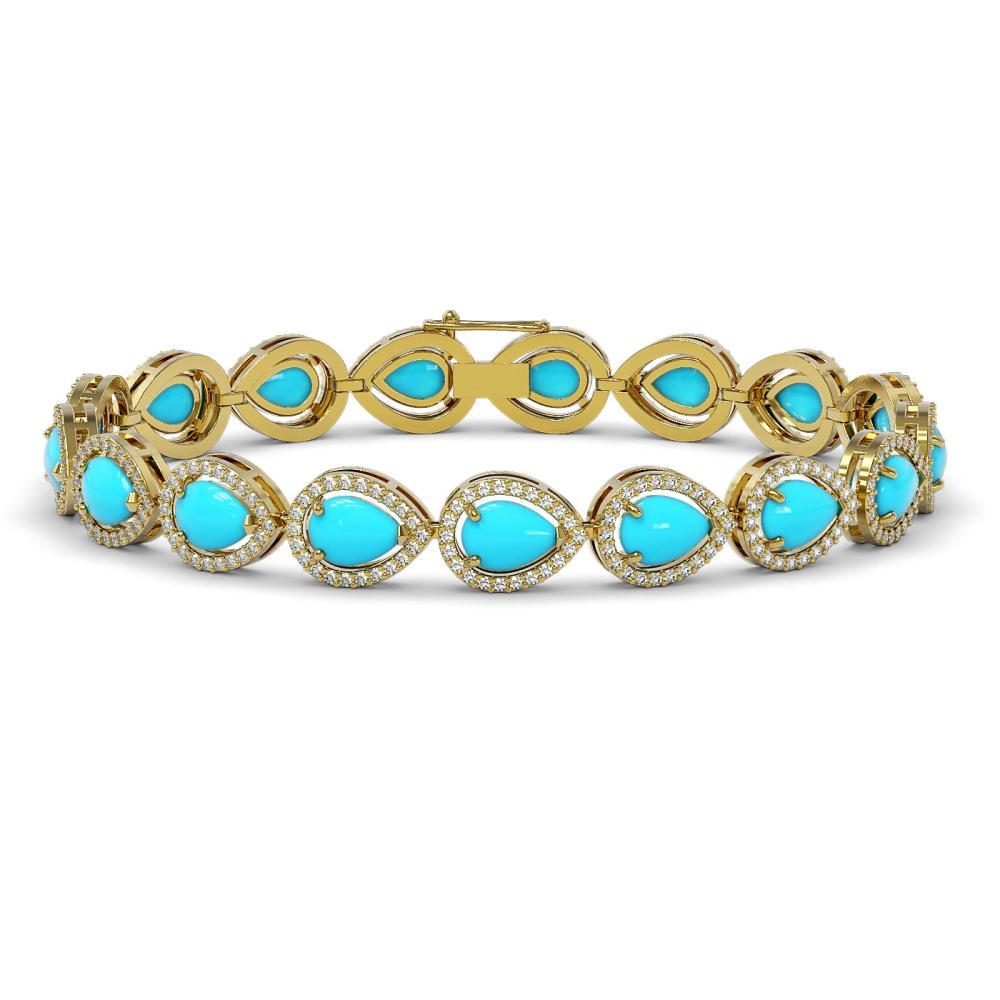 13.19 ctw Turquoise & Diamond Halo Bracelet 10K Yellow Gold - REF-305F8N - SKU:46047