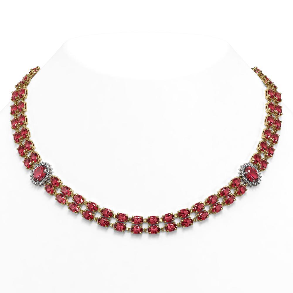 59.69 ctw Tourmaline & Diamond Necklace 14K Yellow Gold - REF-692N5A - SKU:44359