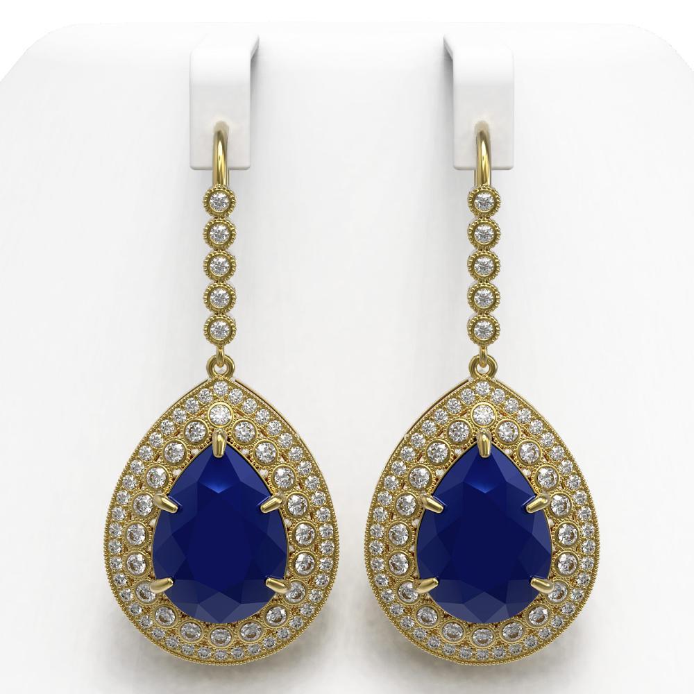 31.74 ctw Sapphire & Diamond Earrings 14K Yellow Gold - REF-549R8K - SKU:43306