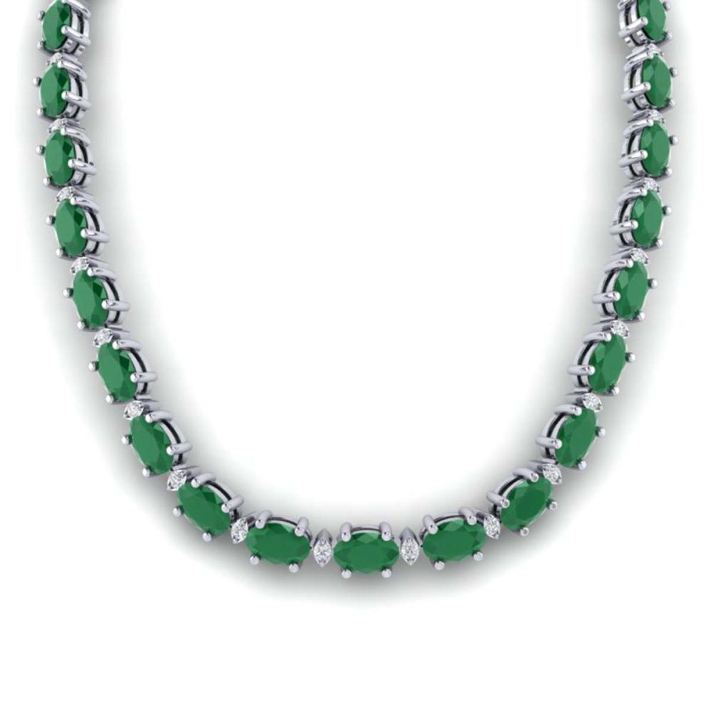 55.5 ctw Emerald & VS/SI Diamond Eternity Necklace 10K White Gold - REF-425A5V - SKU:29422