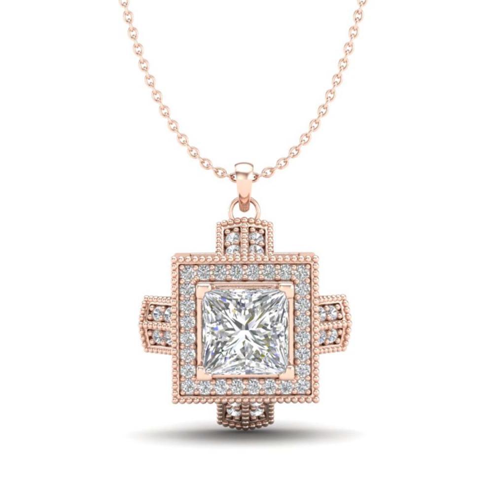 1.46 ctw Princess VS/SI Diamond Necklace 18K Rose Gold - REF-418X2R - SKU:37194