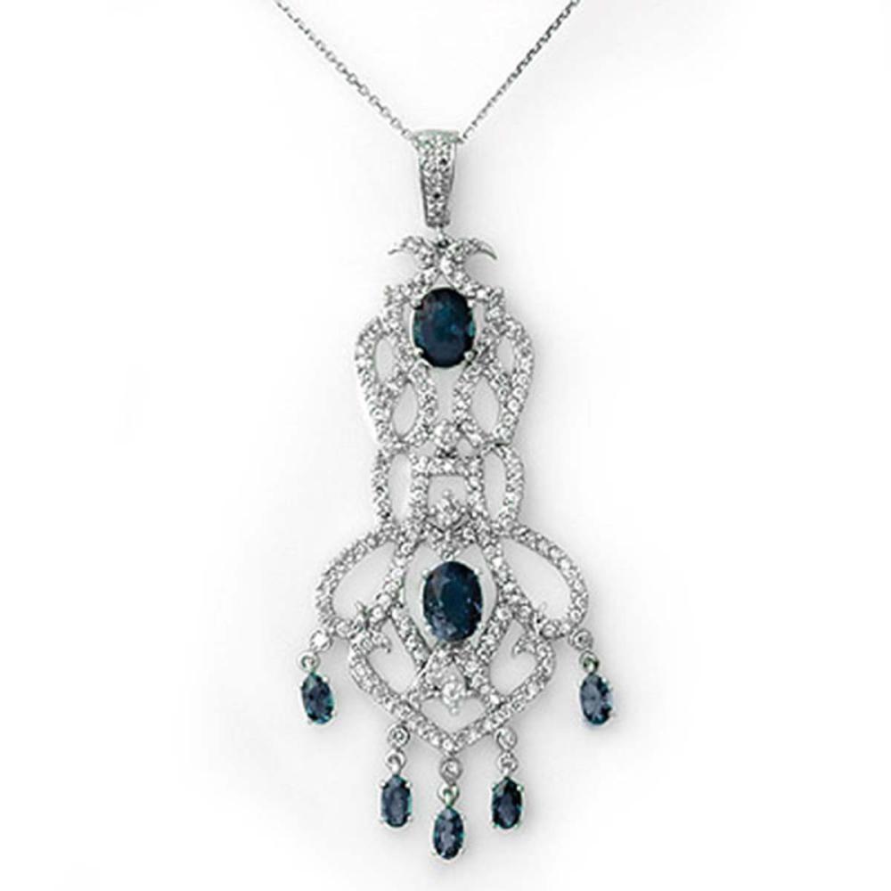 8.15 ctw Blue Sapphire & Diamond Necklace 18K White Gold - REF-301N5A - SKU:11850