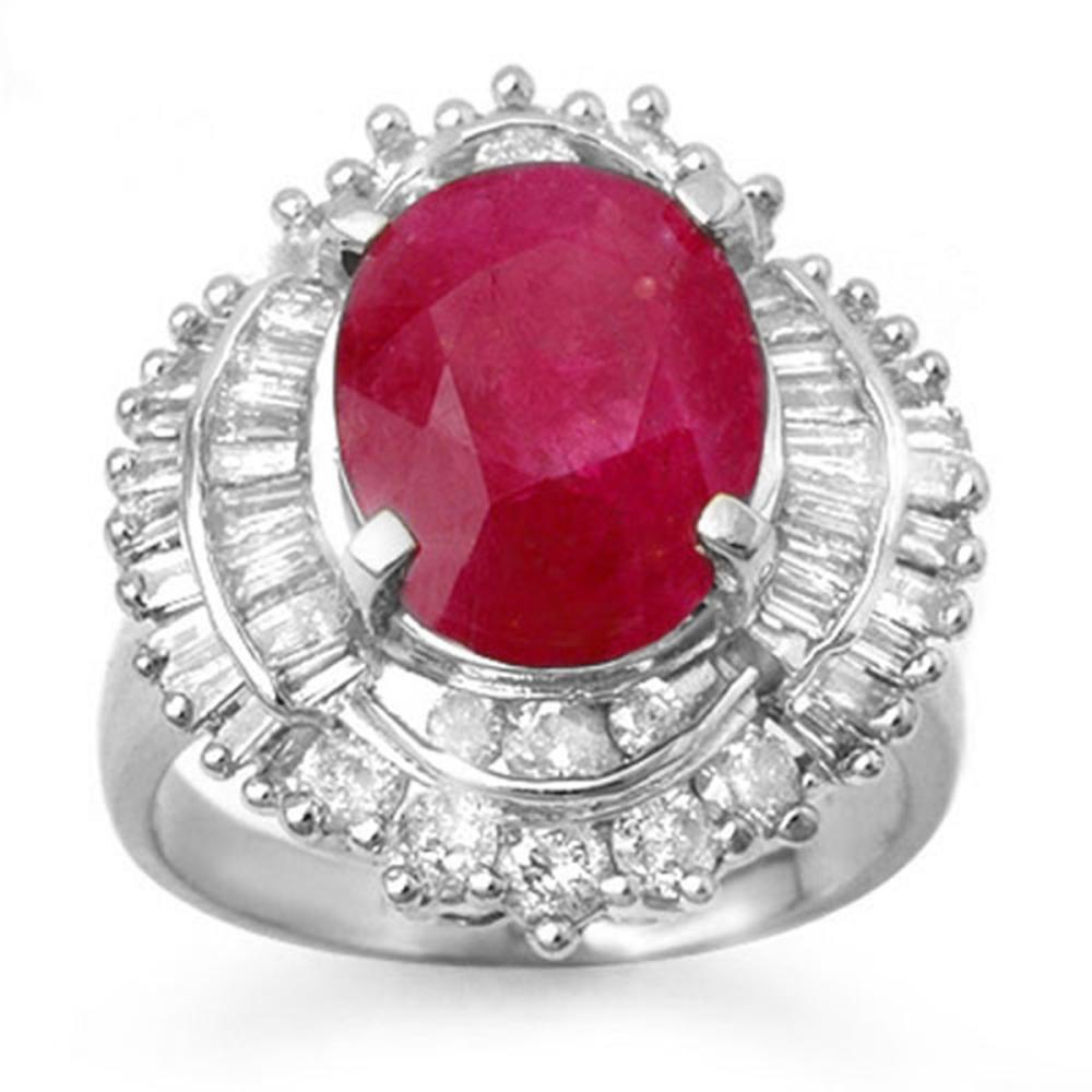 6.15 ctw Ruby & Diamond Ring 18K White Gold - REF-222N7A - SKU:13130