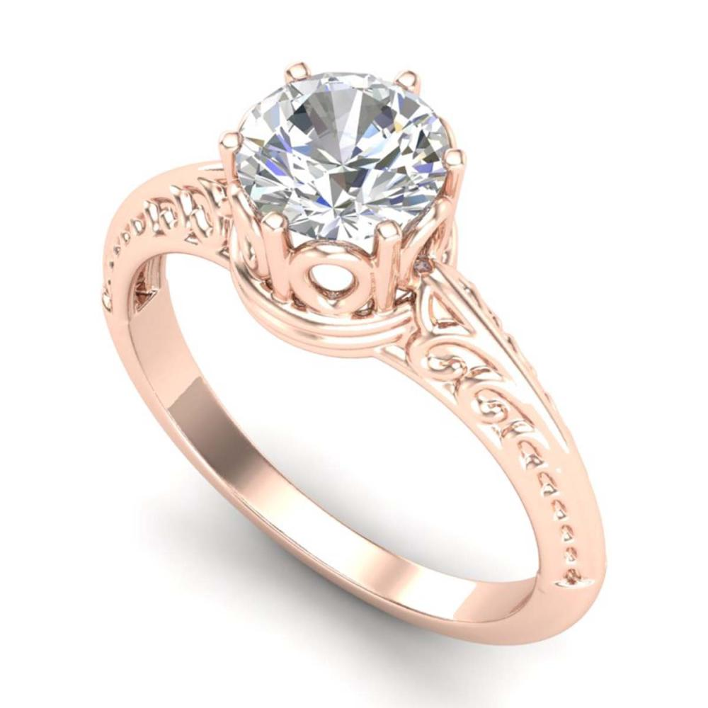 1 ctw VS/SI Diamond Art Deco Ring 18K Rose Gold - REF-298M5F - SKU:37251