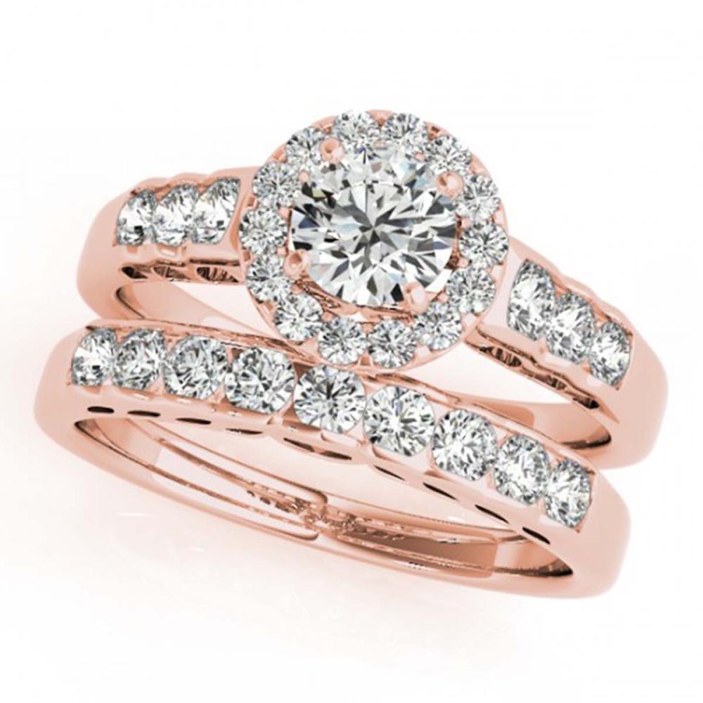 1.96 ctw VS/SI Diamond 2pc Wedding Set Halo 14K Rose Gold - REF-321M2F - SKU:31260