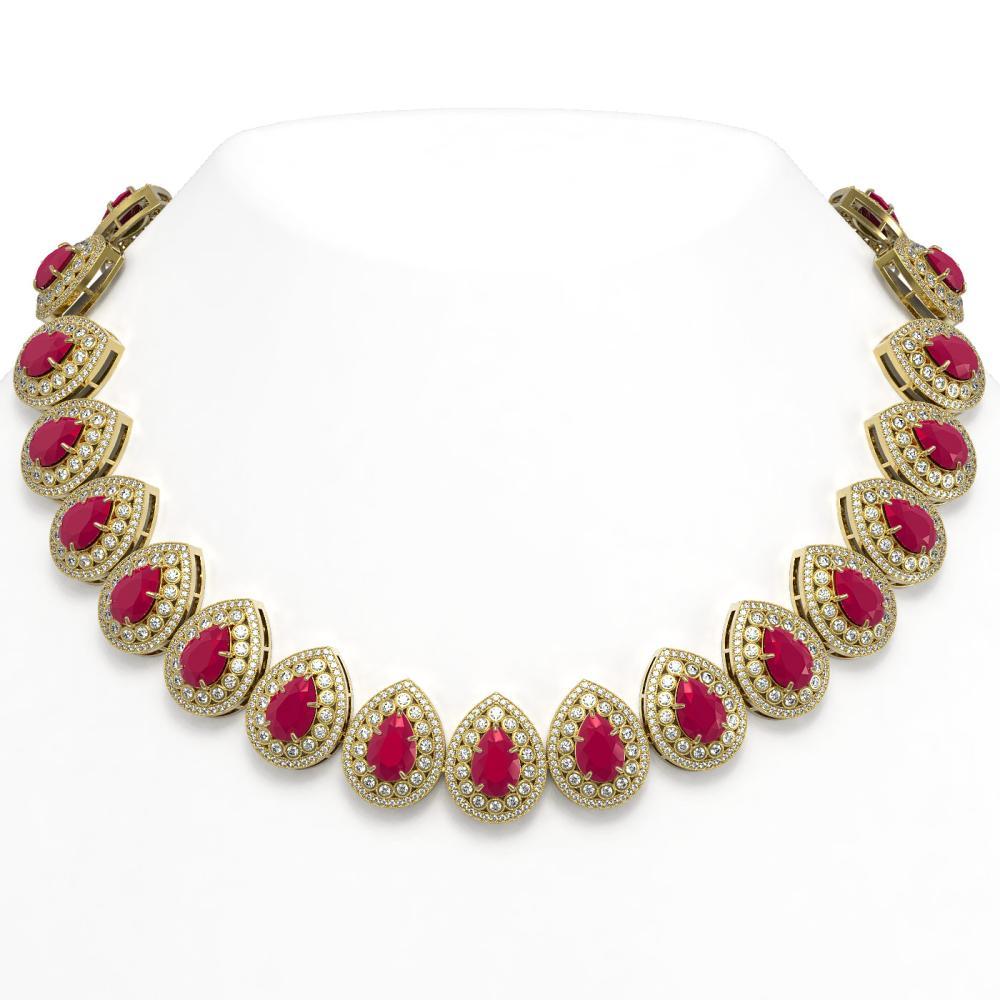 121.42 ctw Ruby & Diamond Necklace 14K Yellow Gold - REF-3416X5R - SKU:43231