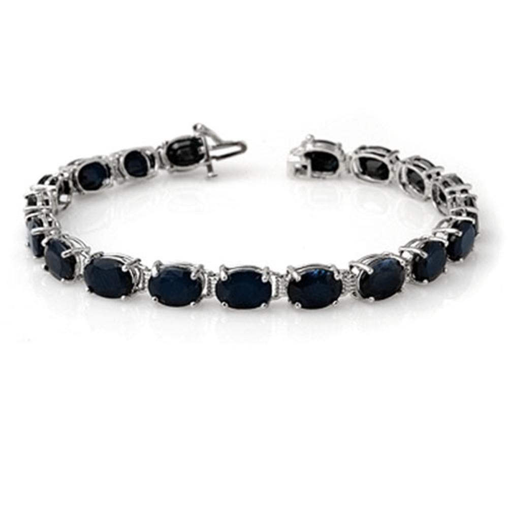 35.0 ctw Blue Sapphire Bracelet 10K White Gold - REF-143V6Y - SKU:14374