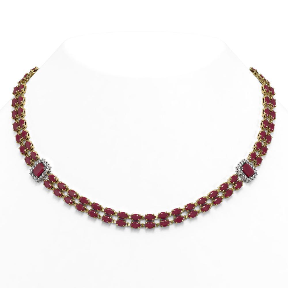 41.63 ctw Ruby & Diamond Necklace 14K Yellow Gold - REF-460F7N - SKU:44971
