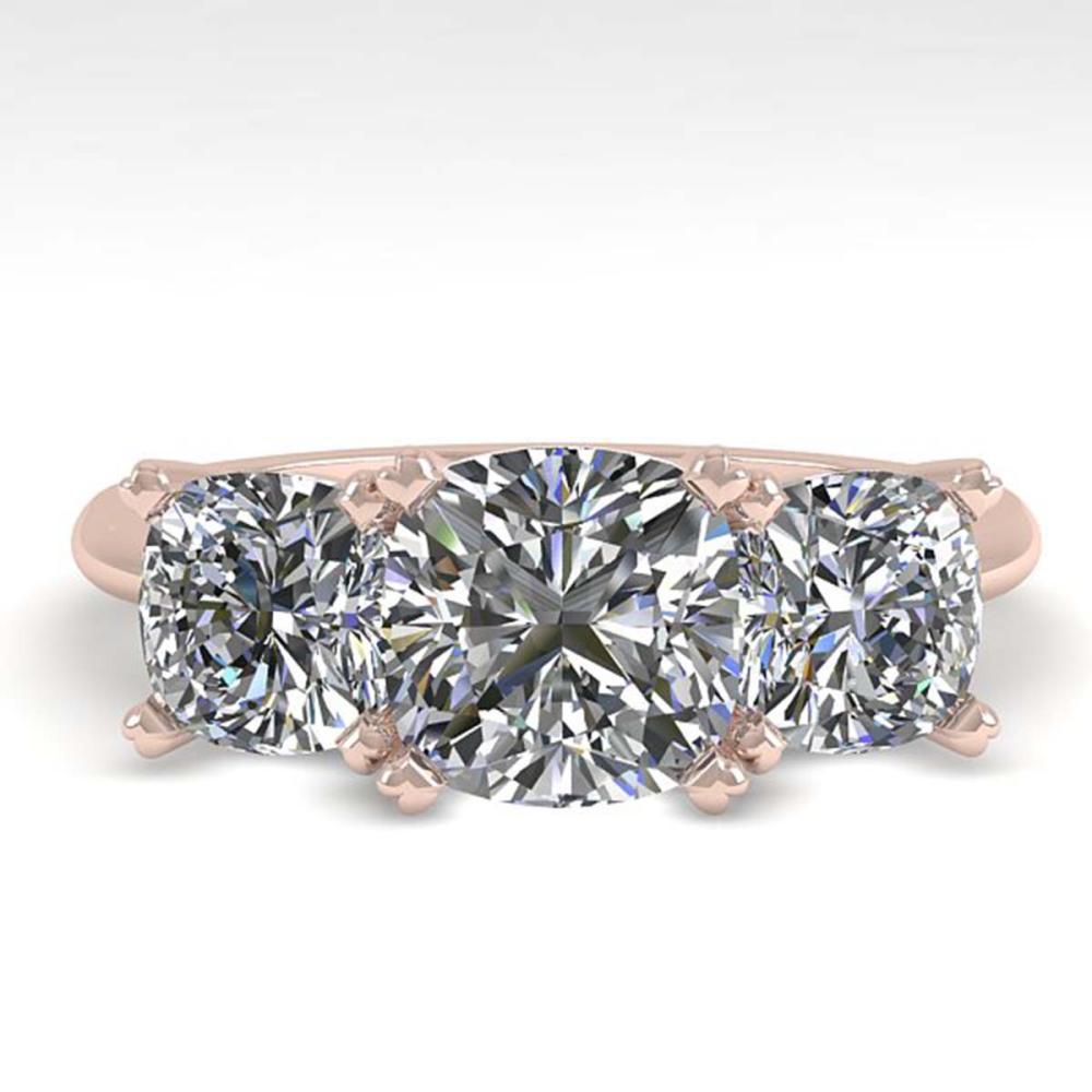 2.0 ctw VS/SI Cushion Diamond 3 Stone Ring 14K Rose Gold - REF-395V7Y - SKU:38502