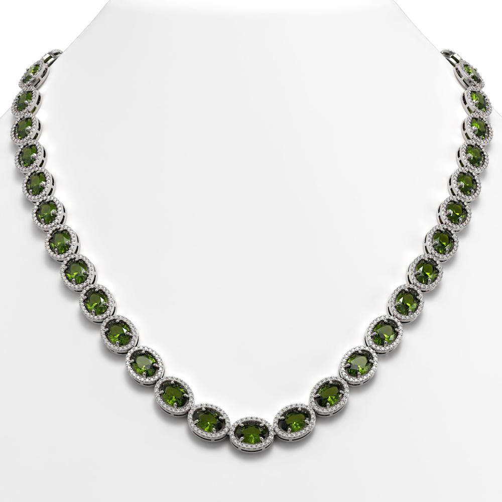 49.46 ctw Tourmaline & Diamond Halo Necklace 10K White Gold - REF-763N6A - SKU:40574