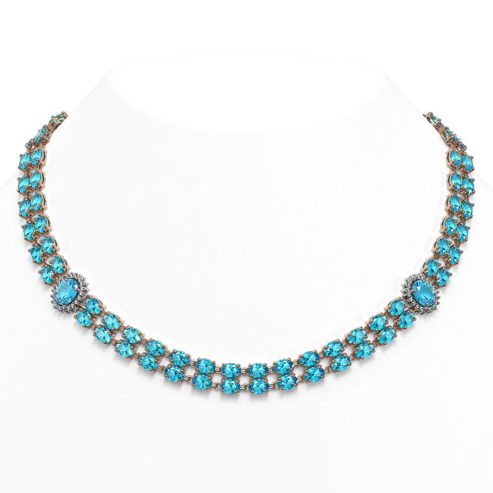 64.99 ctw Swiss Topaz & Diamond Necklace 14K Rose Gold - REF-450M7F - SKU:44373