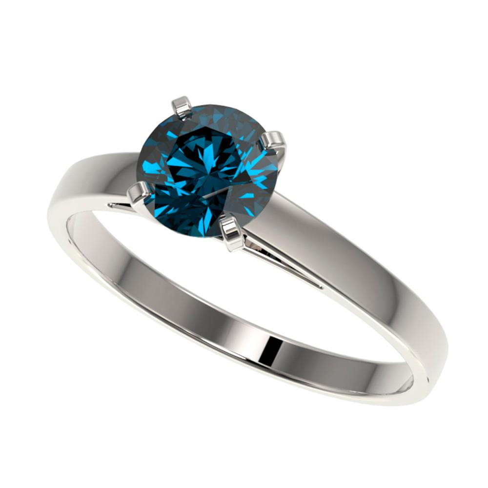 1.05 ctw Intense Blue Diamond Ring 10K White Gold - REF-127H5M - SKU:36518