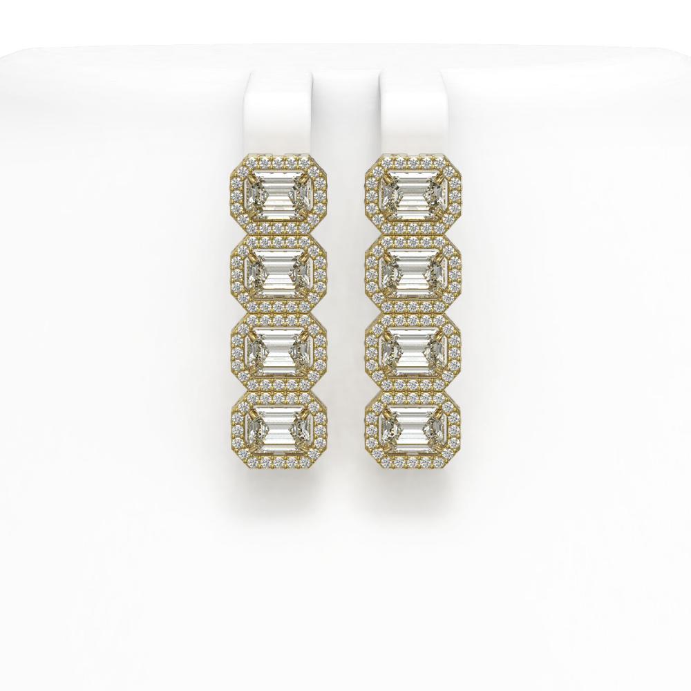 5.92 ctw Emerald Diamond Earrings 18K Yellow Gold - REF-944V7Y - SKU:42847