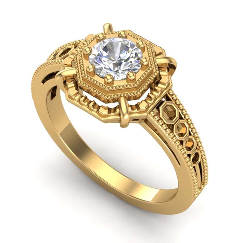 0.53 ctw VS/SI Diamond Art Deco Ring 18K Yellow Gold - REF-136K4W - SKU:36871