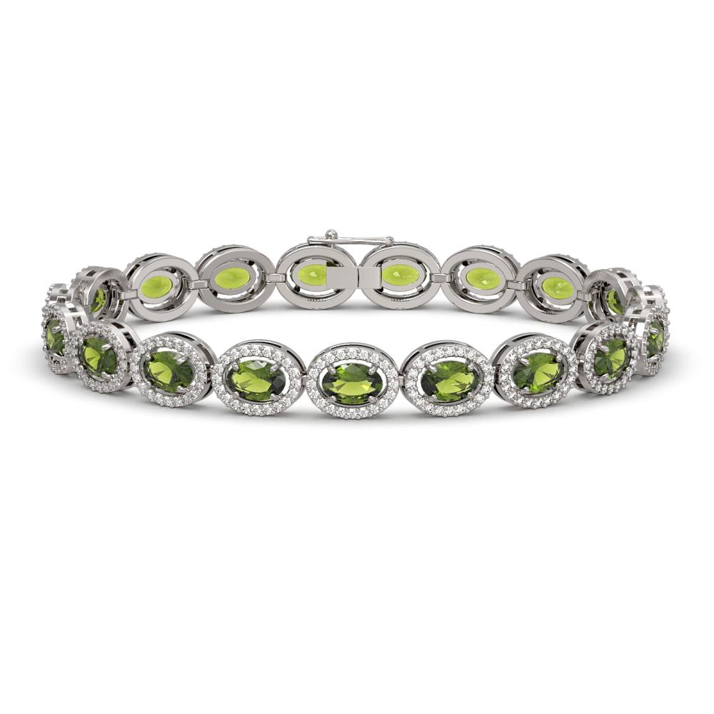 13.87 ctw Tourmaline & Diamond Halo Bracelet 10K White Gold - REF-309X3R - SKU:40472