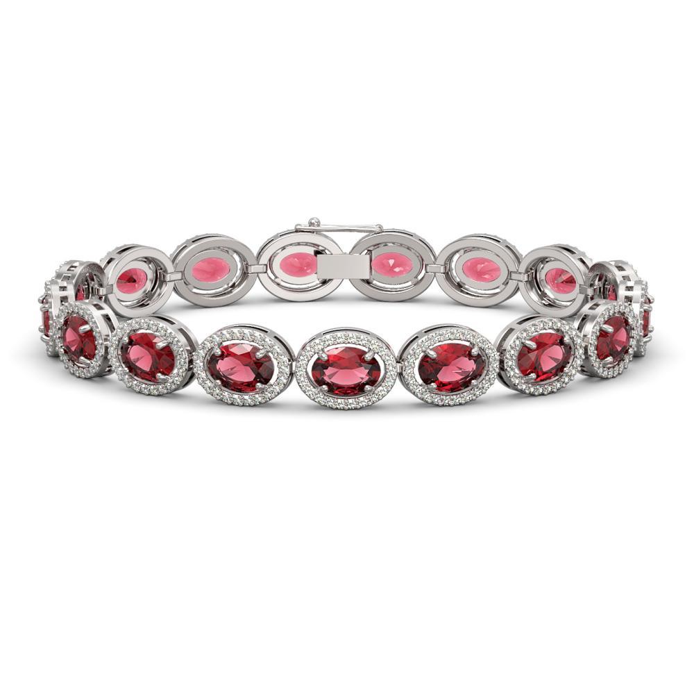 21.71 ctw Tourmaline & Diamond Halo Bracelet 10K White Gold - REF-338M9F - SKU:40619