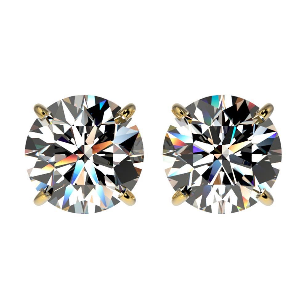 2.59 ctw H-SI/I Diamond Stud Earrings 10K Yellow Gold - REF-435M2F - SKU:36682