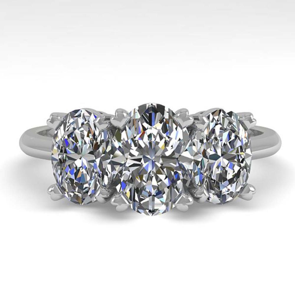 2.0 ctw VS/SI Oval Cut Diamond 3 Stone Ring 18K White Gold - REF-390N2A - SKU:32469