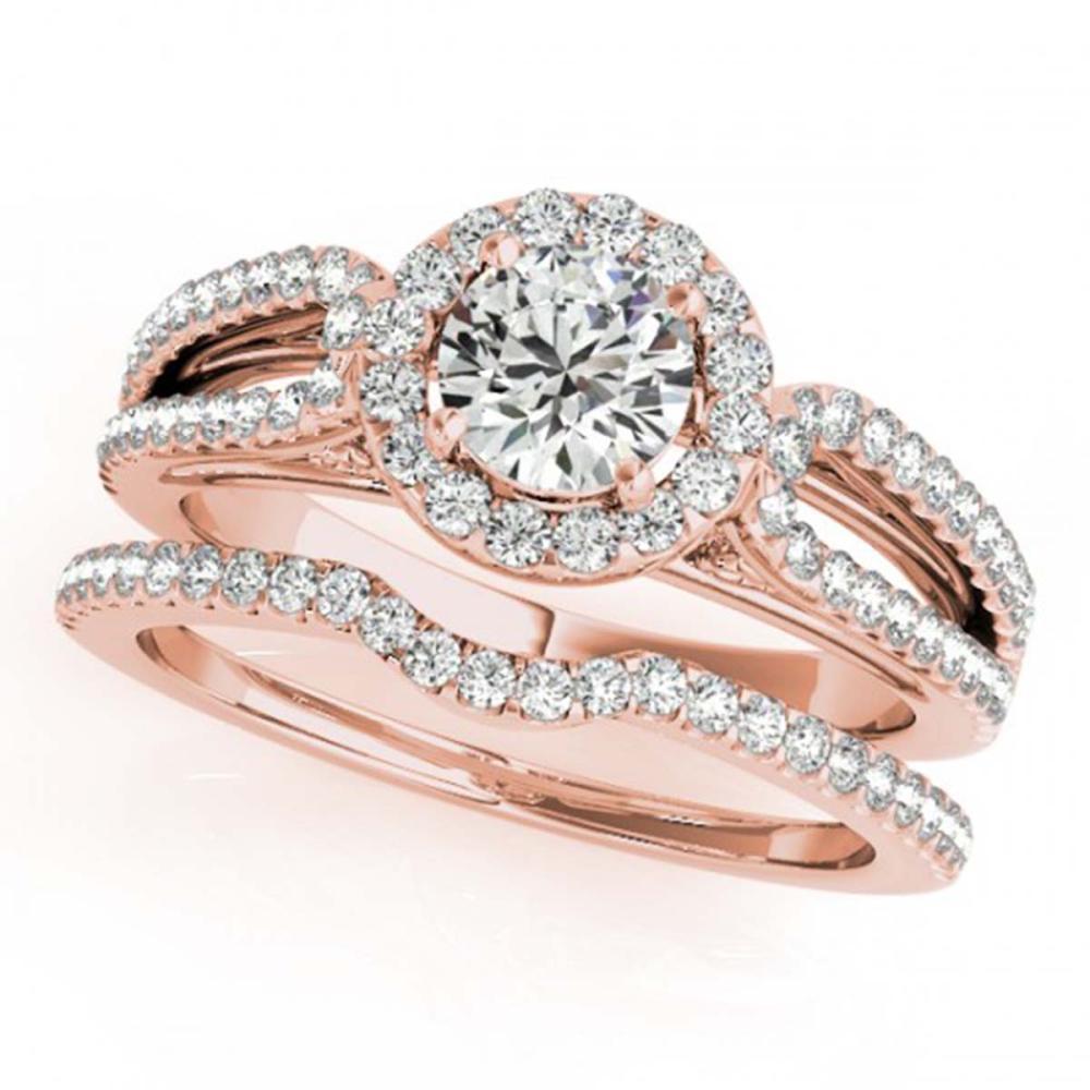 1.36 ctw VS/SI Diamond 2pc Wedding Set Halo 14K Rose Gold - REF-165K2W - SKU:30874