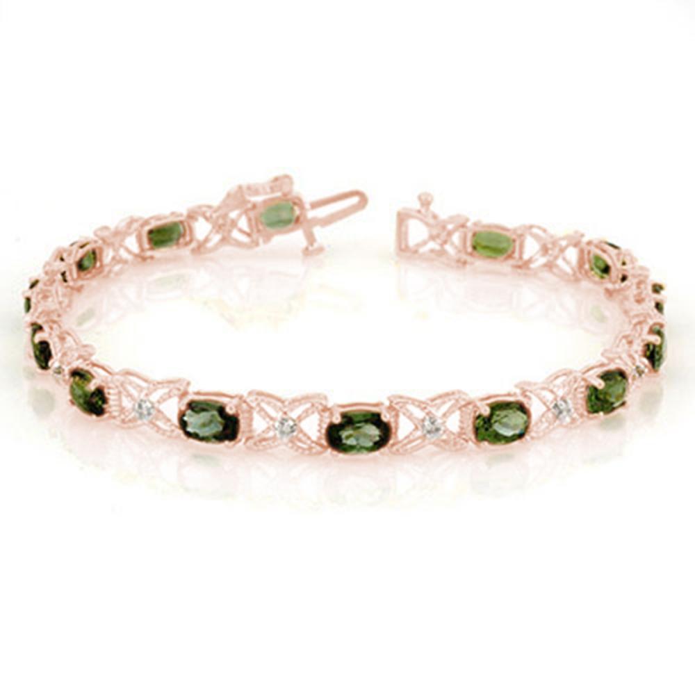 8.15 ctw Green Tourmaline & Diamond Bracelet 18K Rose Gold - REF-145X5R - SKU:11263
