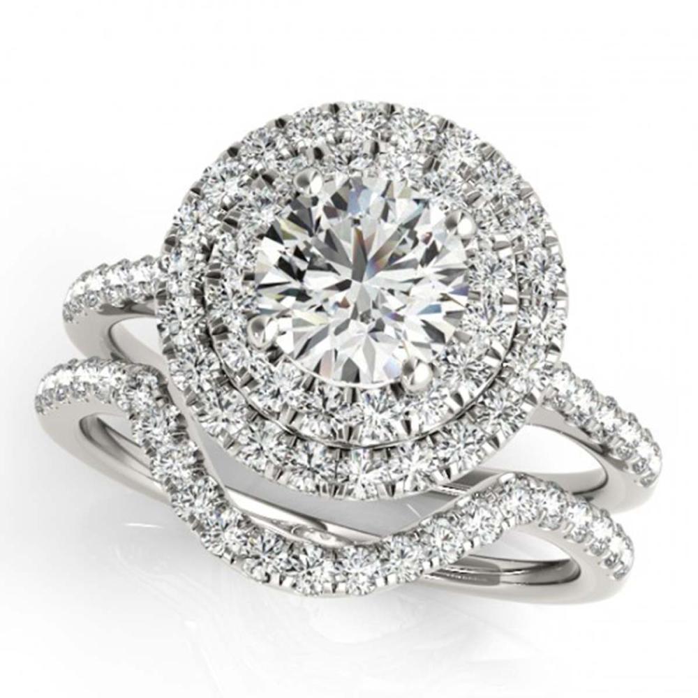 1.45 ctw VS/SI Diamond 2pc Set Solitaire Halo 14K White Gold - REF-184H3M - SKU:30680