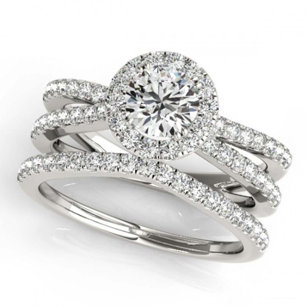 2.37 ctw VS/SI Diamond 2pc Wedding Set Halo 14K White Gold - REF-388R3K - SKU:31023