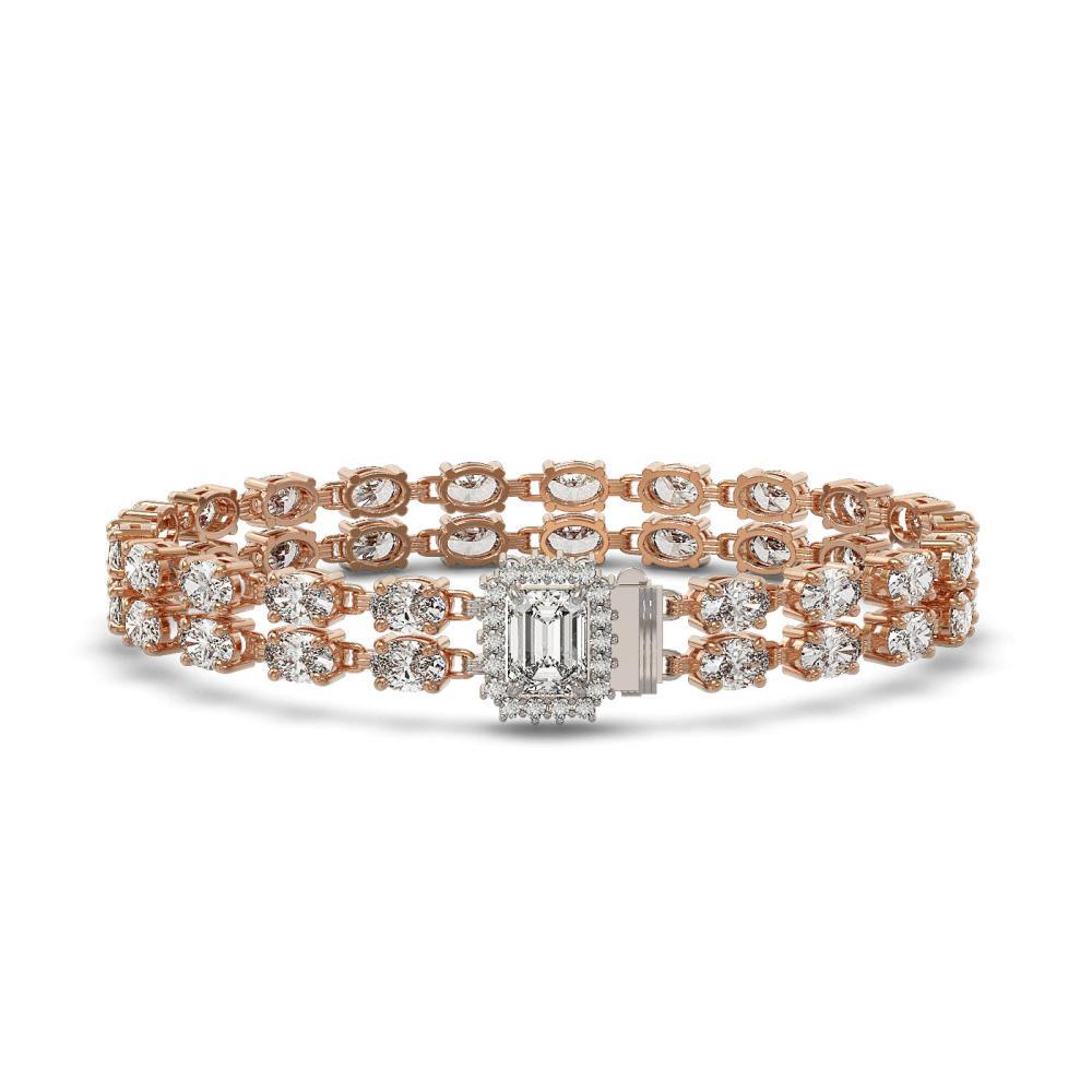 13.04 ctw Emerald Cut & Oval Diamond Bracelet 18K Rose Gold - REF-1261F9N - SKU:46234