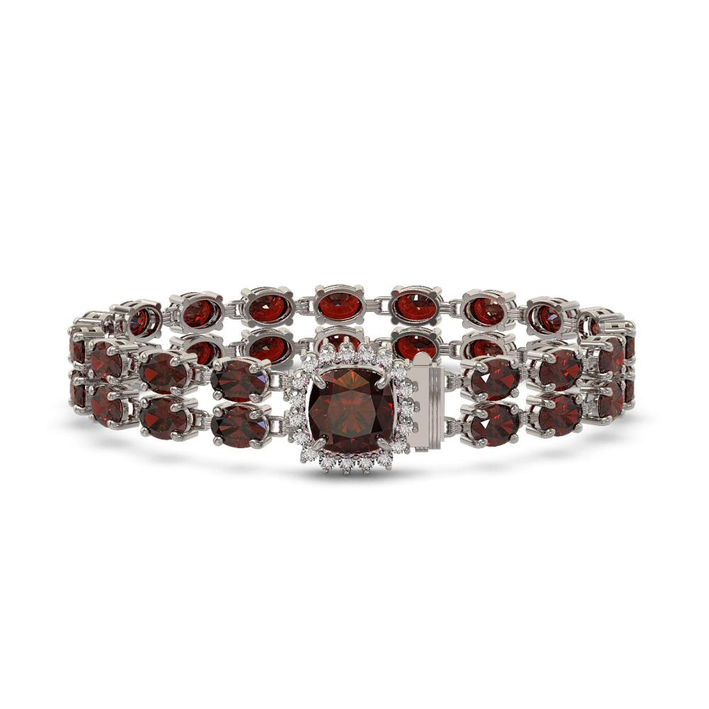 14.98 ctw Garnet & Diamond Bracelet 14K White Gold - REF-169N5A - SKU:45638