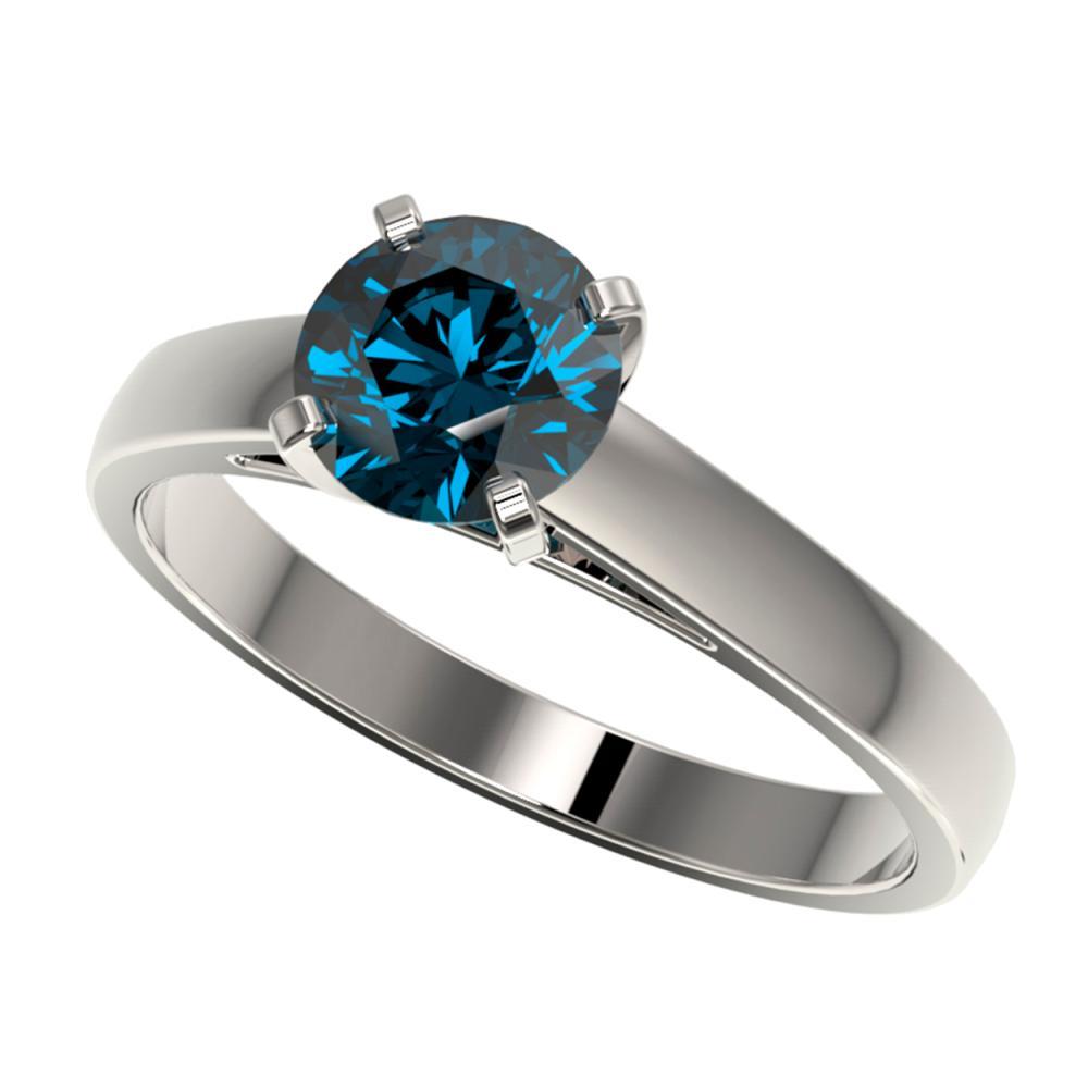1.25 ctw Intense Blue Diamond Ring 10K White Gold - REF-147V2Y - SKU:33006