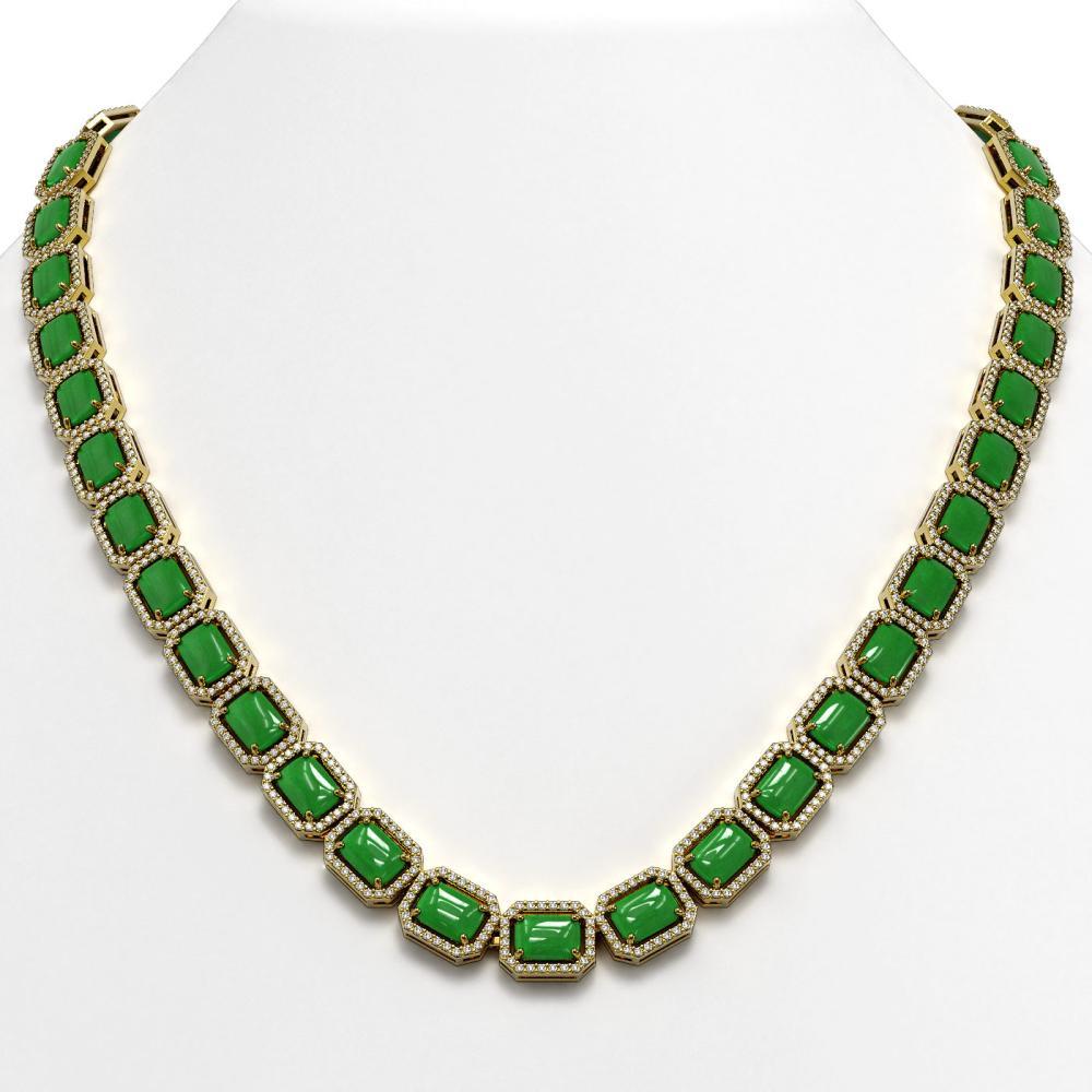 56.69 ctw Jade & Diamond Halo Necklace 10K Yellow Gold - REF-673F8N - SKU:46062