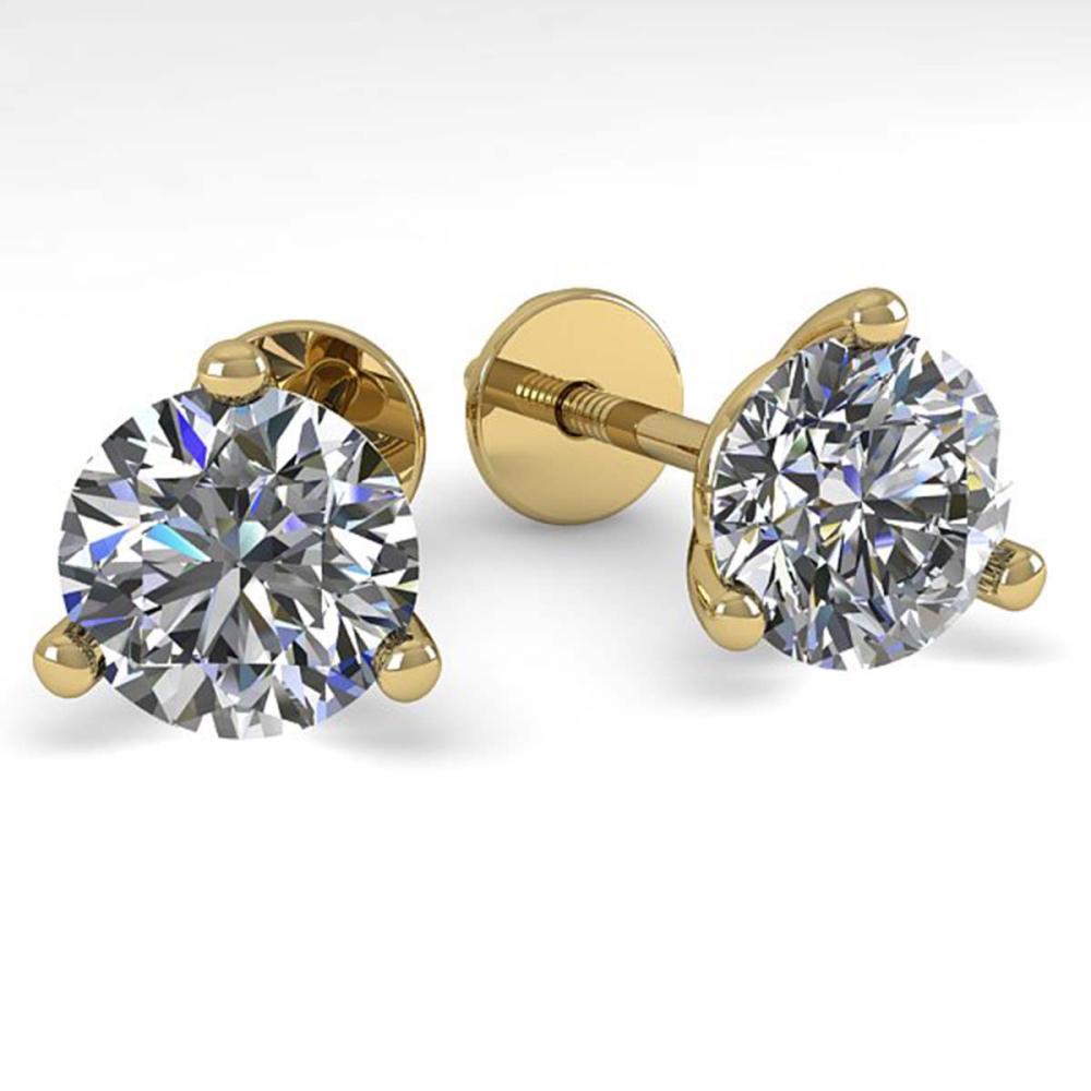 1.53 ctw VS/SI Diamond Stud Earrings 14K Yellow Gold - REF-240M3F - SKU:30572