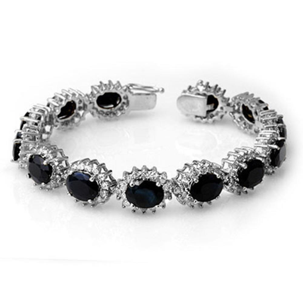 35.69 ctw Blue Sapphire & Diamond Bracelet 14K White Gold - REF-486H4M - SKU:13137