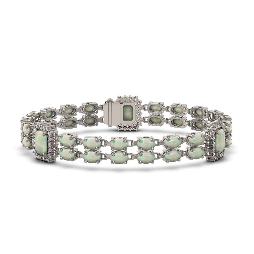 13.76 ctw Opal & Diamond Bracelet 14K White Gold - REF-255X6R - SKU:45038