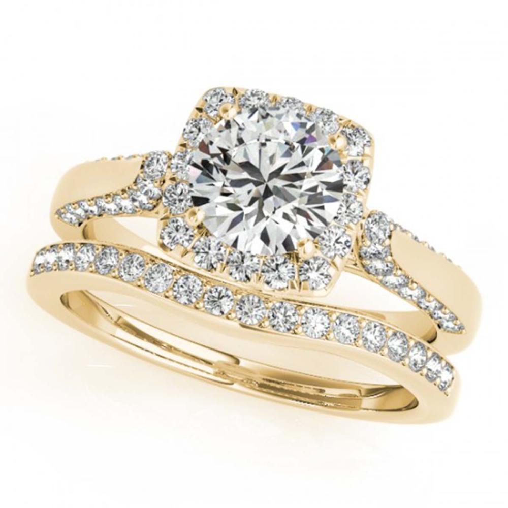 1.79 ctw VS/SI Diamond 2pc Wedding Set Halo 14K Yellow Gold - REF-298X3R - SKU:30713