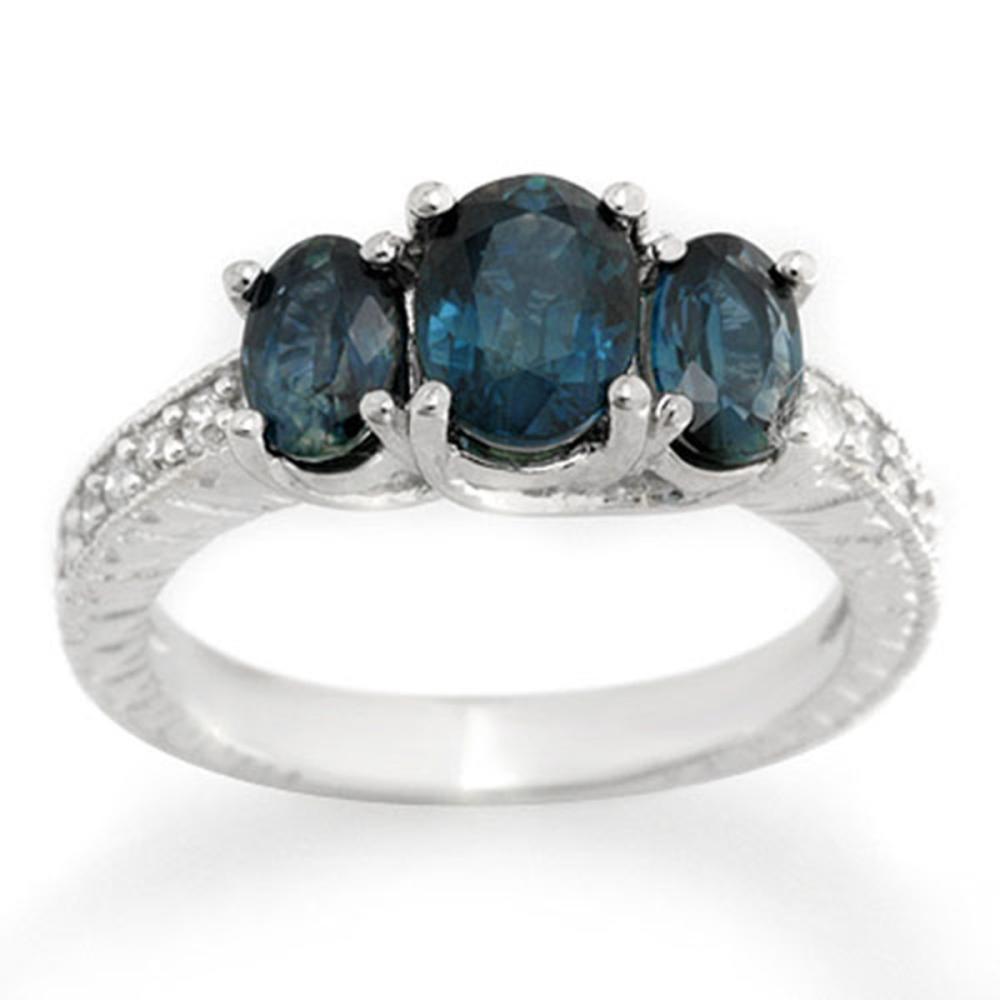 3.25 ctw Blue Sapphire & Diamond Ring 14K White Gold - REF-56R5K - SKU:10763