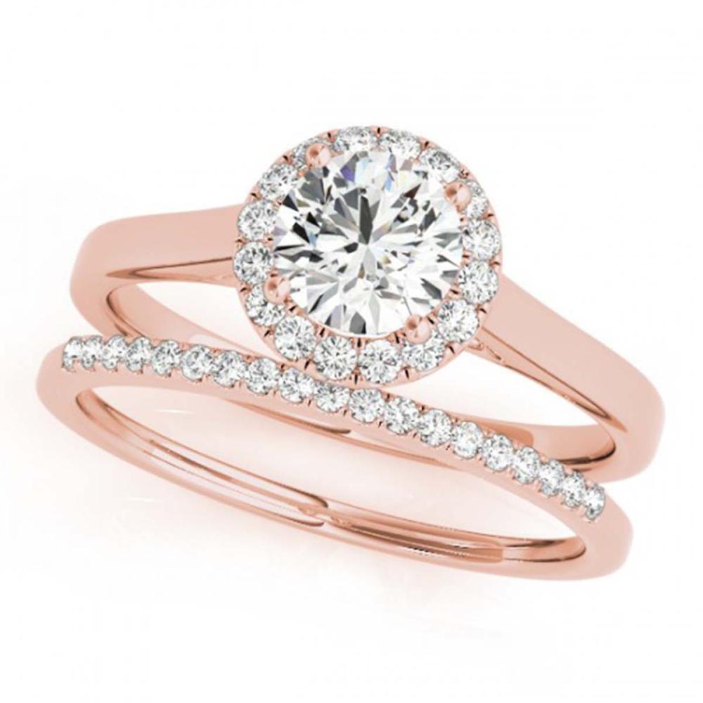 0.89 ctw VS/SI Diamond 2pc Wedding Set Halo 14K Rose Gold - REF-101M7F - SKU:30985