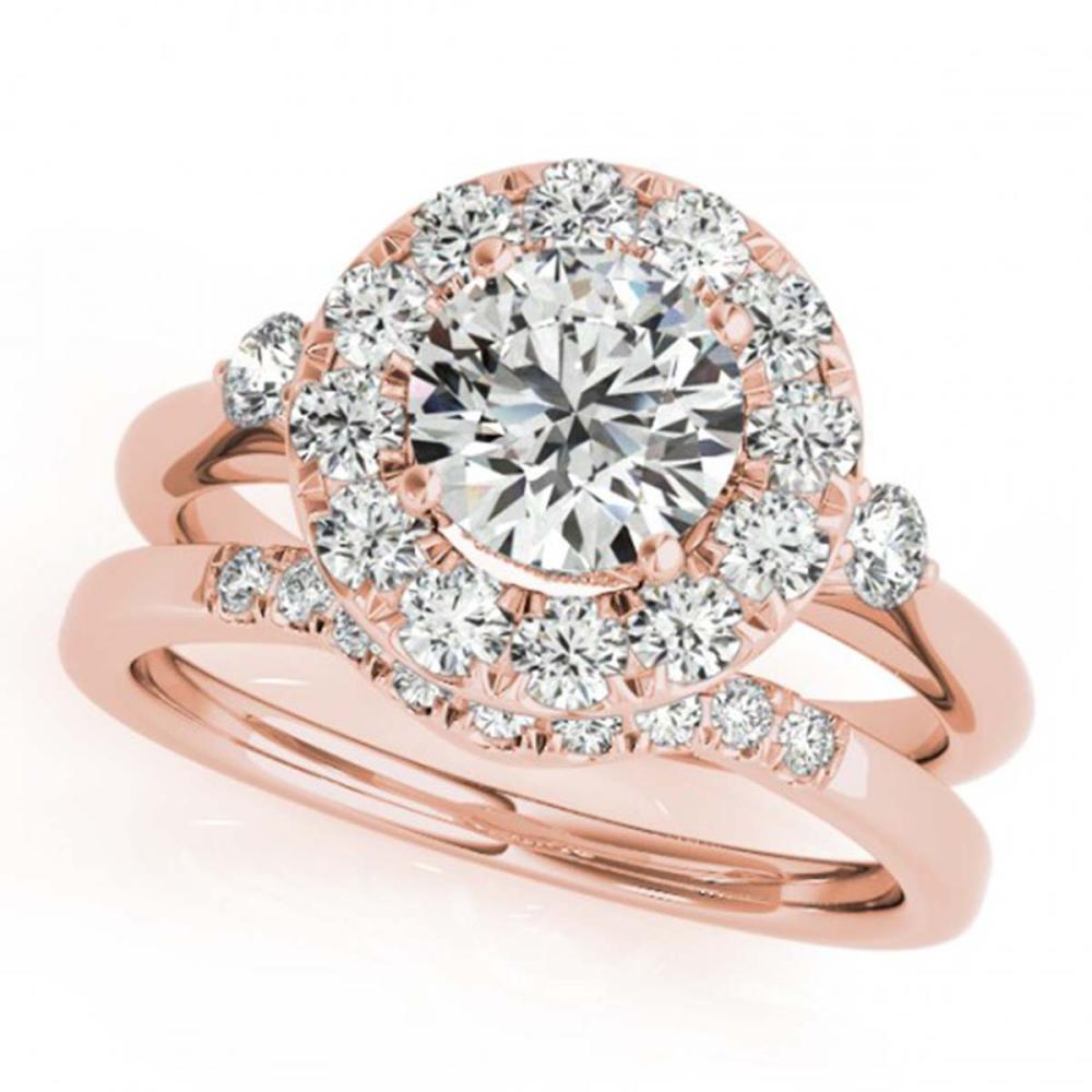 1.62 ctw VS/SI Diamond 2pc Wedding Set Halo 14K Rose Gold - REF-300K3W - SKU:30766