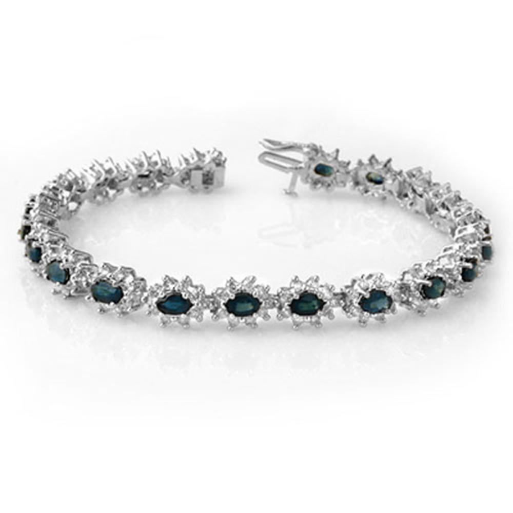 12.0 ctw Blue Sapphire & Diamond Bracelet 18K White Gold - REF-414K2W - SKU:14444