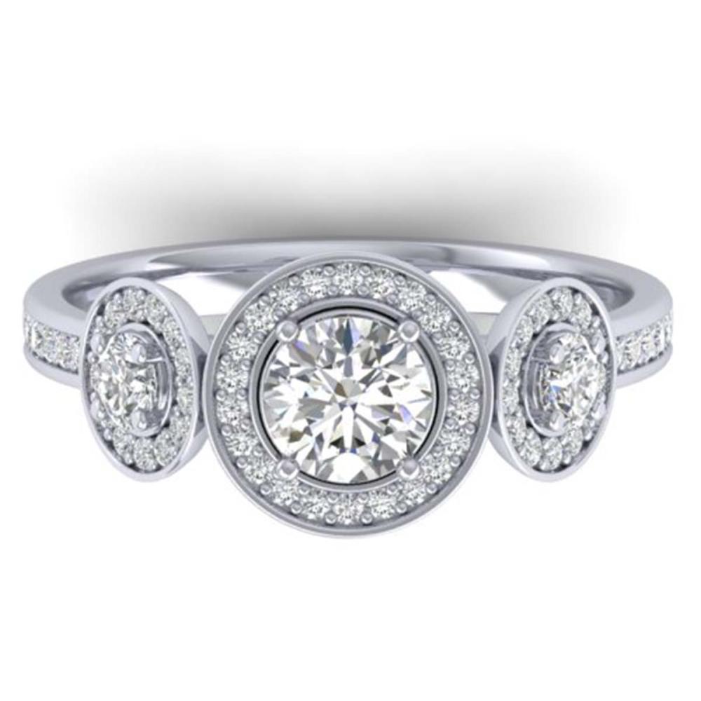 1.25 ctw VS/SI Diamond Art Deco 3 Stone Ring 14K White Gold - REF-134A5V - SKU:30360
