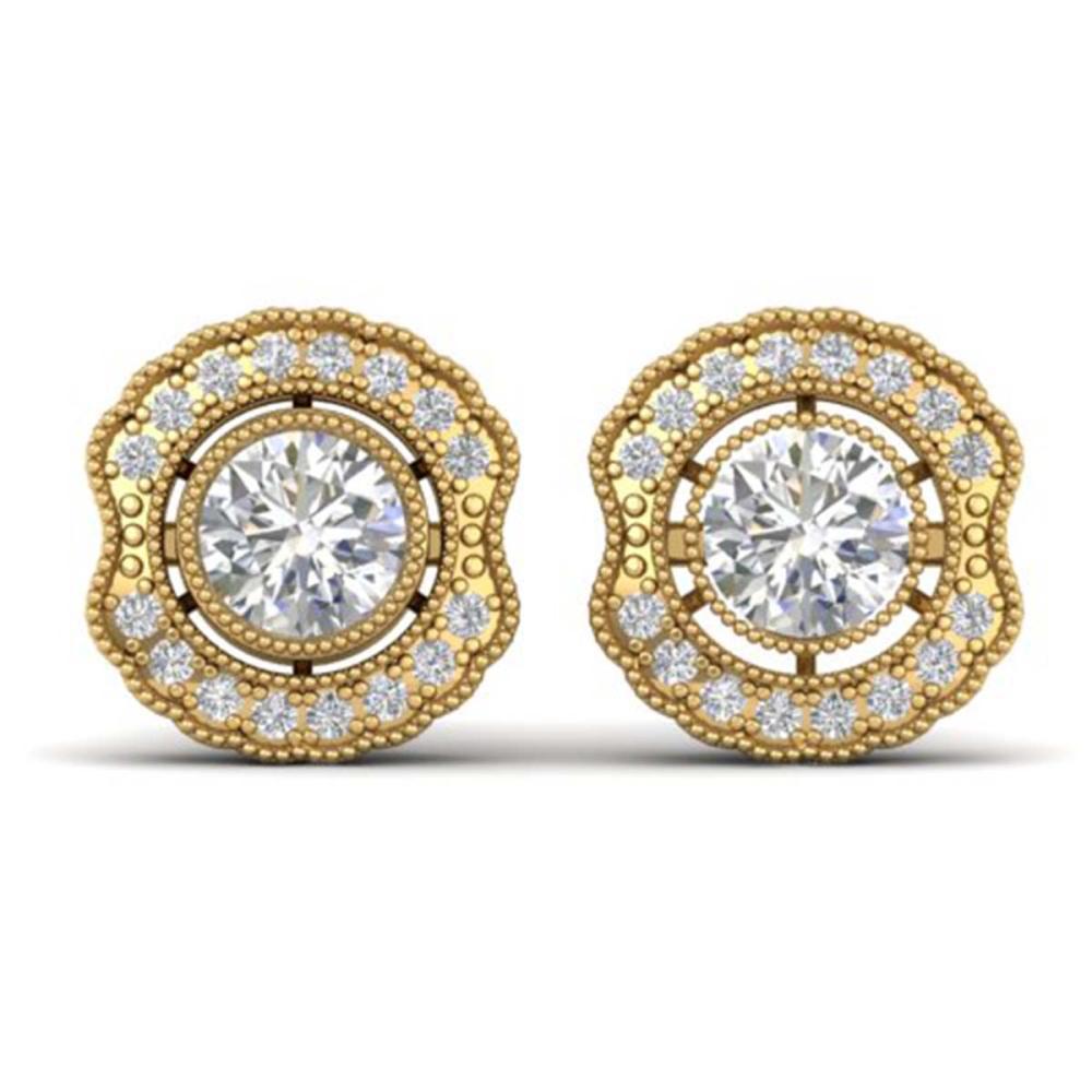 1.50 ctw VS/SI Diamond Art Deco Stud Earrings 14K Yellow Gold - REF-245W5H - SKU:30542