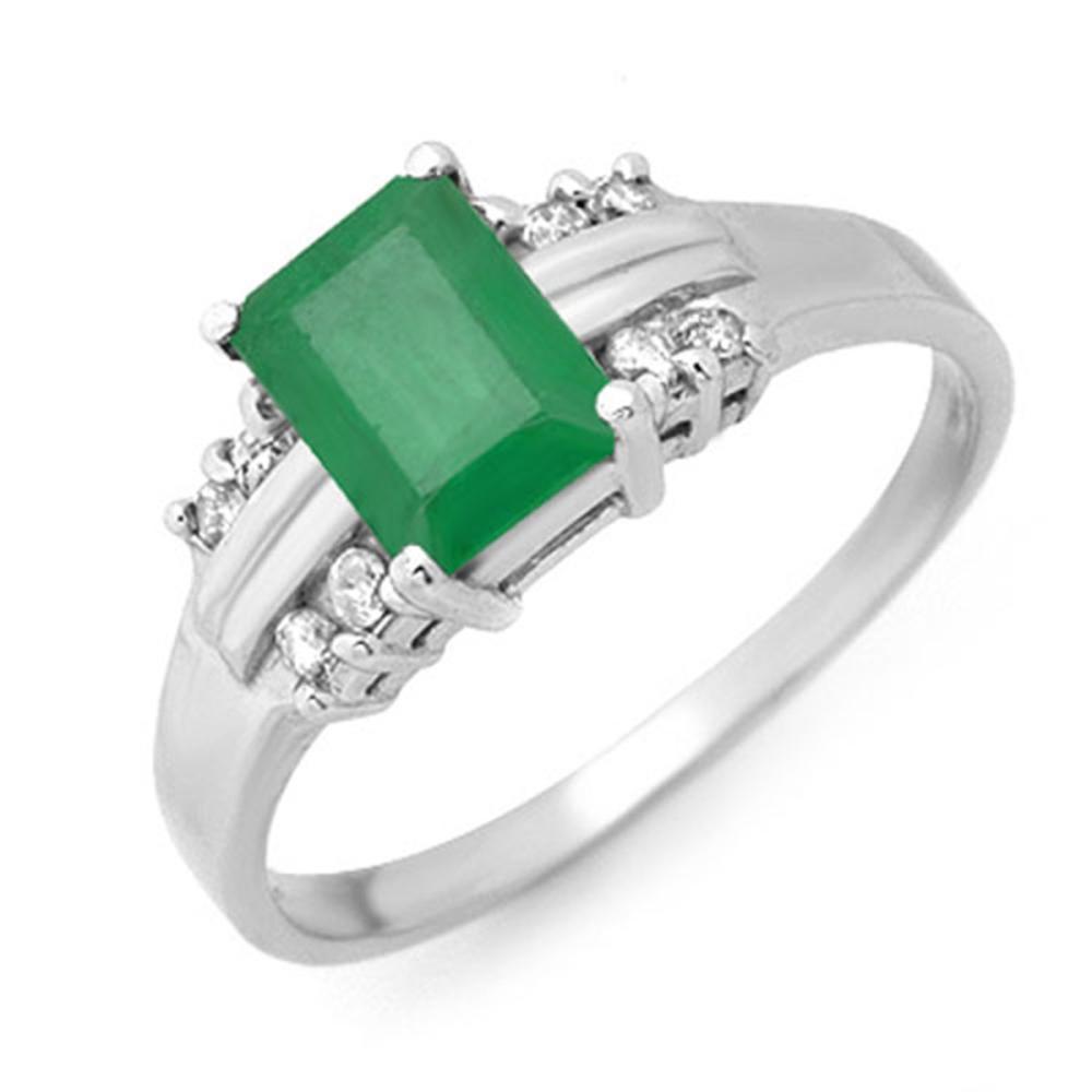 1.16 ctw Emerald & Diamond Ring 18K White Gold - REF-42R7K - SKU:13676