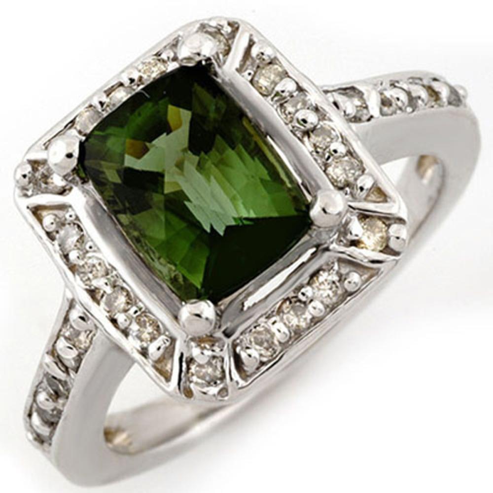2.40 ctw Green Tourmaline & Diamond Ring 14K White Gold - REF-64M7F - SKU:10933