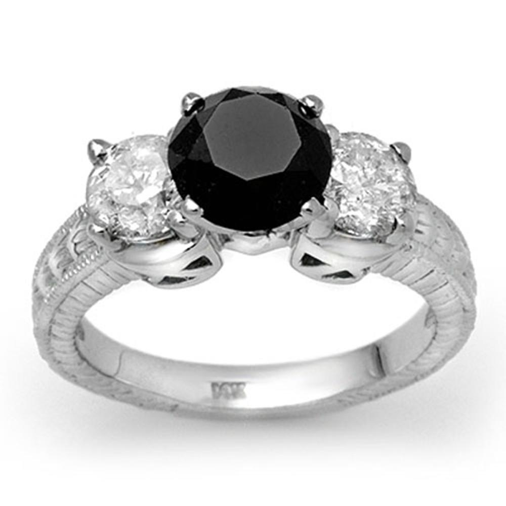 3.80 ctw VS Black & White Diamond Ring 14K White Gold - REF-357A3V - SKU:11933