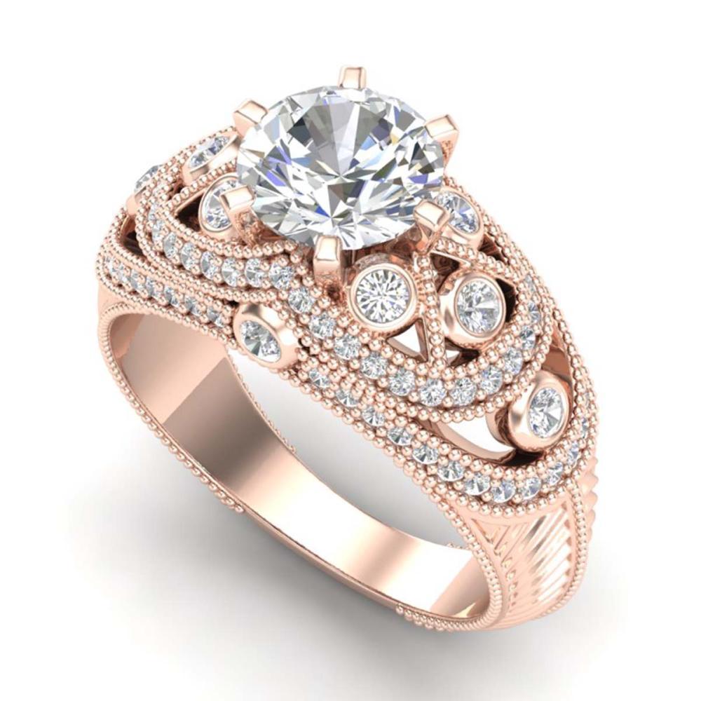 2 ctw VS/SI Diamond Solitaire Art Deco Ring 18K Rose Gold - REF-581R8K - SKU:37113