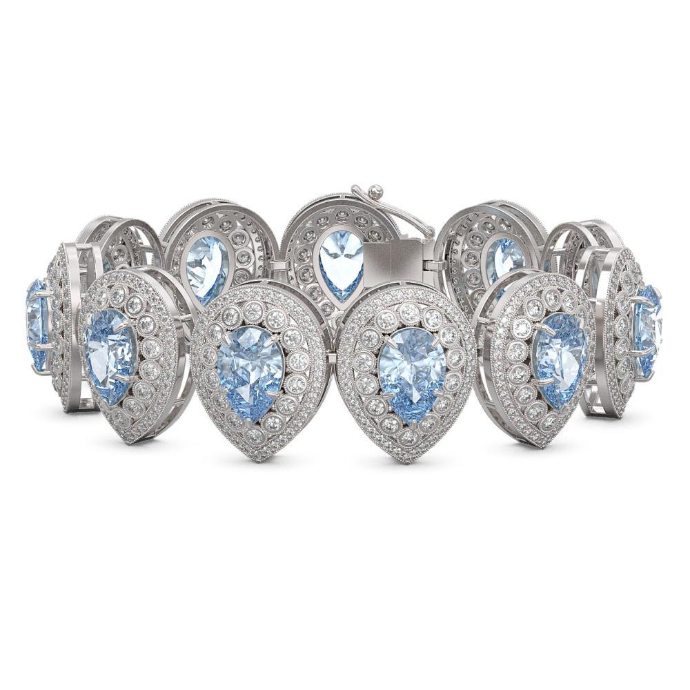 42.94 ctw Aquamarine & Diamond Bracelet 14K White Gold - REF-1722X9R - SKU:43265