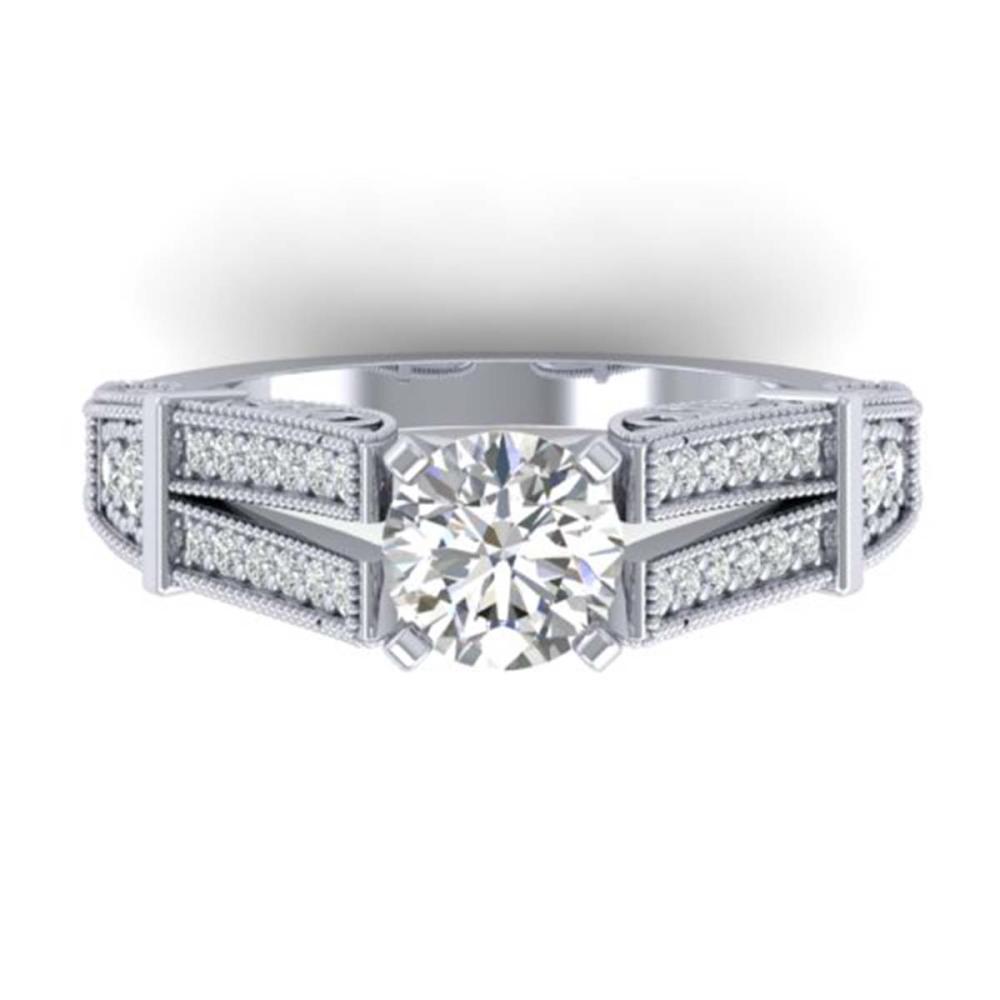 1.50 ctw VS/SI Diamond Solitaire Art Deco Ring 14K White Gold - REF-326X5R - SKU:30474