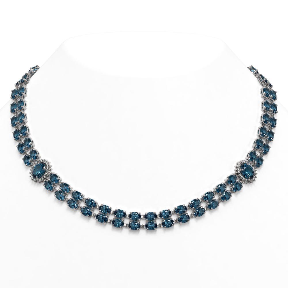 64.99 ctw London Topaz & Diamond Necklace 14K White Gold - REF-466X2R - SKU:44375