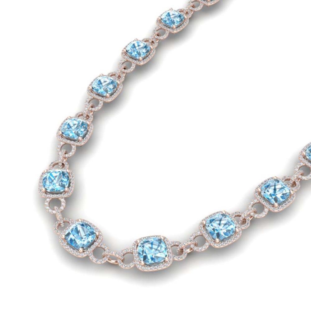 66 ctw Topaz & VS/SI Diamond Necklace 14K Rose Gold - REF-805K3W - SKU:23053
