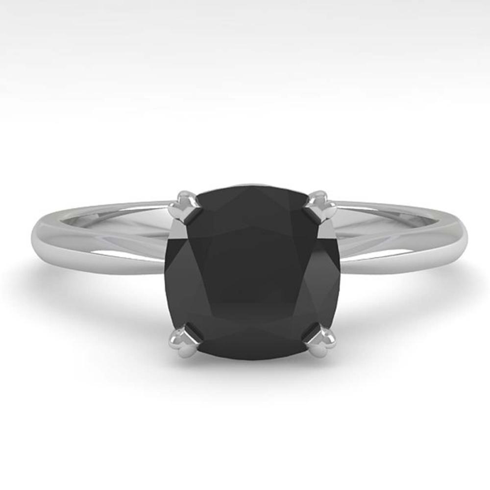 3 ctw Cushion Black Diamond Ring 18K White Gold - REF-73F5N - SKU:32457